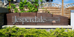 Spruce Grove Community, entrance feature for Jesperdale in Aspen Glen. Relaxed community for empty nesters and families.