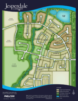 An overall map of the Jesperdale community shows the locations of multi-use trails, parks, playgrounds, storm ponds and the golf course in relation to the stages of Jesperdale by home type. Home types include duplex, townhome, single family and estate stages.
